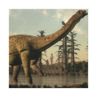 Uberabatitan dinosaur in the lake - 3D render Canvas Print