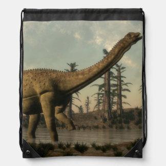 Uberabatitan dinosaur in the lake - 3D render Drawstring Bag