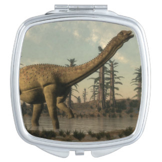 Uberabatitan dinosaur in the lake - 3D render Makeup Mirror