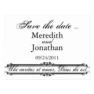 Ubi Caritas et Amor Wedding Save the Date Template Postcard