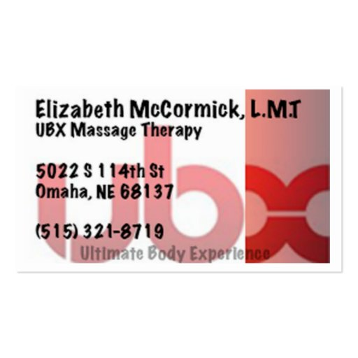 Ubx massage therapy business card template zazzle for Massage therapy business card templates
