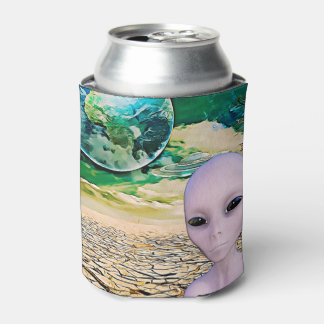 UFO and Alien in the Desert Pop Can Cooler