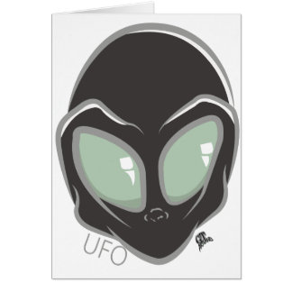 UFO Black Galactic Martian Alien Head Card