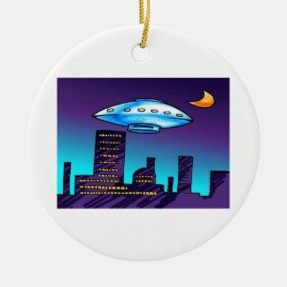 UFO City Round Ceramic Decoration