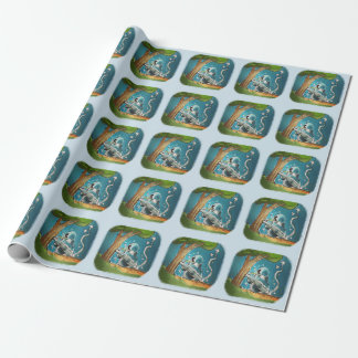 ufo crash site funny cartoon wrapping paper