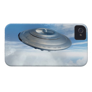 UFO flying through cloudy skies. iPhone 4 Case-Mate Cases