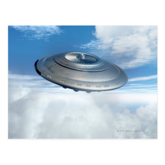 UFO flying through cloudy skies. Postcard