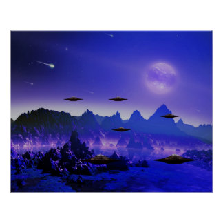 UFO galaxy  in space Poster