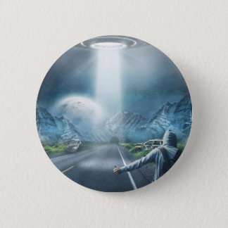 UFO Hitchhiker button