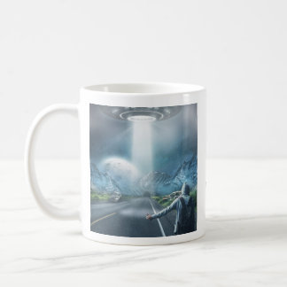 UFO Hitchhiker custom monogram mugs