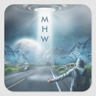 UFO Hitchhiker custom monogram stickers