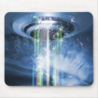 UFO hovering above Earth while abducting humans. Mouse Pad