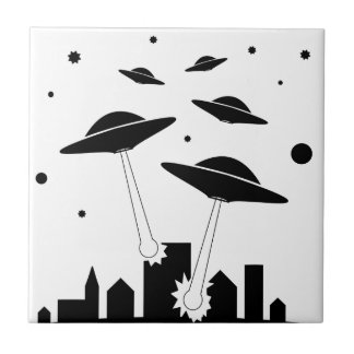 UFO Invasion Ceramic Tile