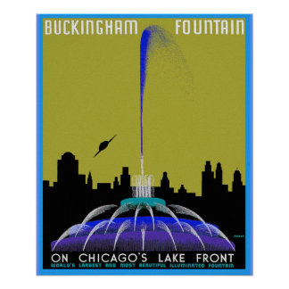 UFO over Chicago - Buckingham Fountain Poster