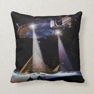 UFO over Pyramids Throw Pillow
