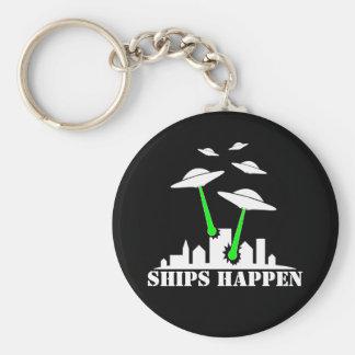 UFO Ships Happen Basic Round Button Key Ring