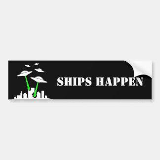 UFO Ships Happen Bumper Sticker