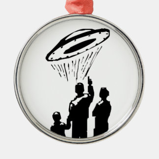 UFO Sighting Silver-Colored Round Decoration