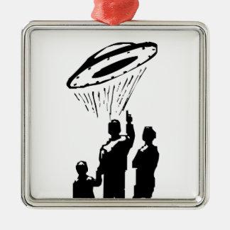 UFO Sighting Silver-Colored Square Decoration