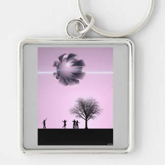 UFO Sighting Silver-Colored Square Key Ring