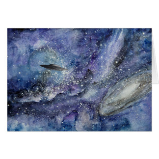 UFO spaceship in space Card