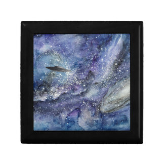 UFO spaceship in space Gift Box