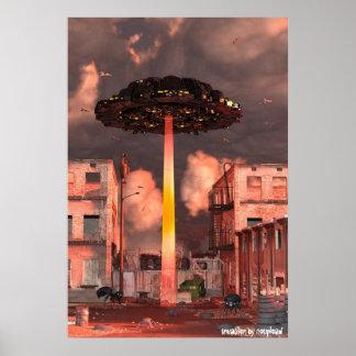 UFO Spaceship Invasion Poster