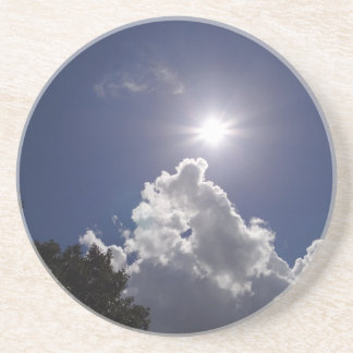 UFO Sunburst Fluffy White Clouds Drink Coaster