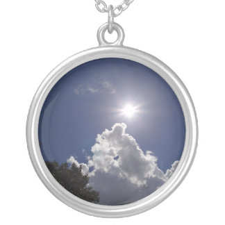 UFO Sunburst Fluffy White Clouds Round Pendant Necklace