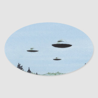 UFO Trio Oval Sticker