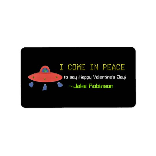 UFO Valentine sticker Address Label
