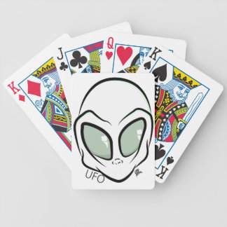 UFO White Galactic Martian Alien Head Bicycle Playing Cards