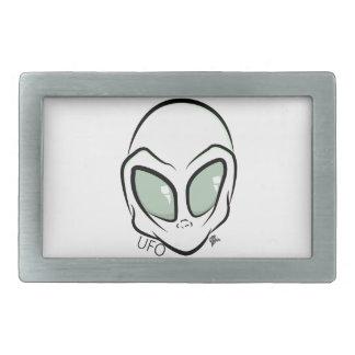 UFO White Galactic Martian Alien Head Rectangular Belt Buckle