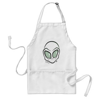 UFO White Galactic Martian Alien Head Standard Apron