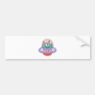 UFO With Alien Bumper Sticker