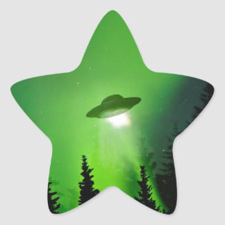 UFO with Northern Lights Star Sticker