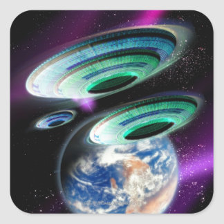 UFOs Square Sticker