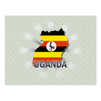 Uganda Flag Map 2.0 Postcard