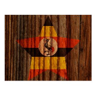 Uganda Flag Star on Wood theme Postcard