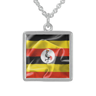 Uganda Flag Sterling Silver Square Necklace