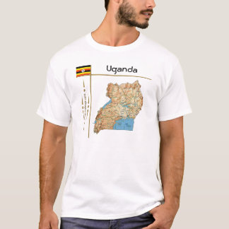 Uganda Map + Flag + Title T-Shirt