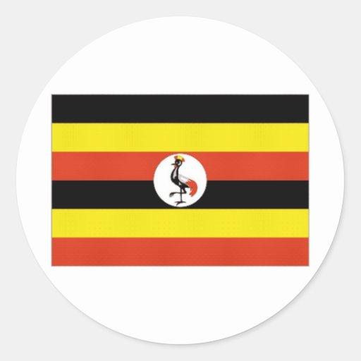 Uganda National Flag Round Stickers