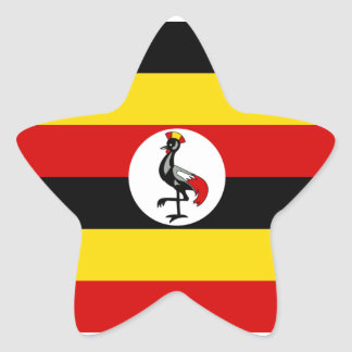 Uganda/Ugandan Flag Star Sticker