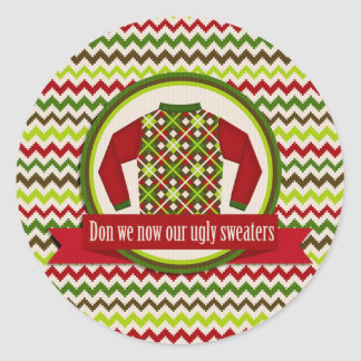 Ugly and Tacky Christmas Sweater Party Stickers