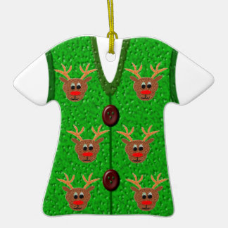 Ugly Christmas Reindeer Sweater Vest Ornament