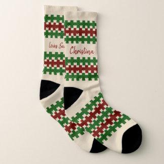 Ugly Christmas Socks Custom Name Loves Santa 1