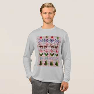Ugly Christmas Sweater Design on Long T-Shirt