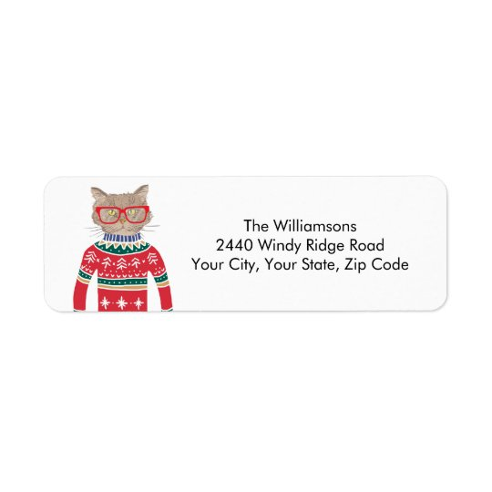 Ugly Christmas Sweater Funny Cat Return Address Return Address Label