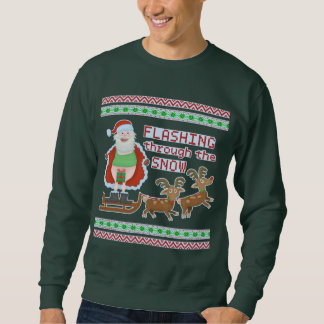 Ugly Christmas Sweater   Funny Santa Flashing Snow