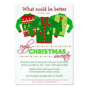 Ugly Sweater Christmas Invitations Announcements Zazzle Com Au